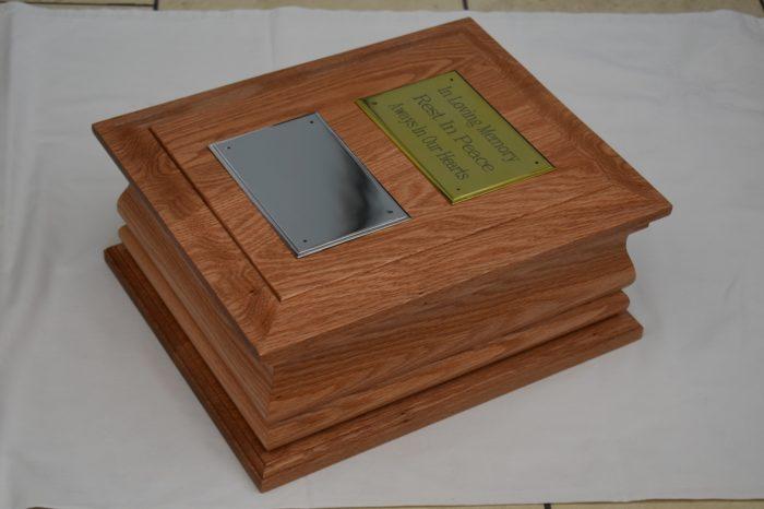 Double solid oak casket