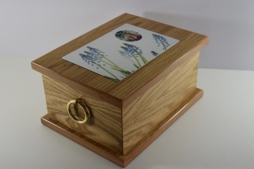 Windors Veneered Oak Casket with Photo