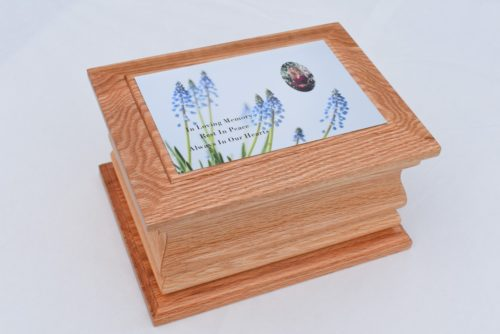 Solid Oak Moulded Ashes Casket with Flower Photo