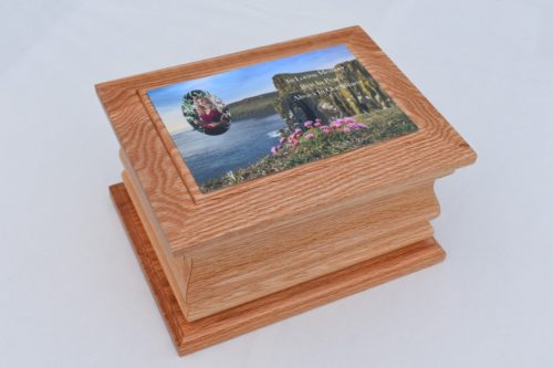 Solid Oak Moulded Ashes Casket with Mountain Photo