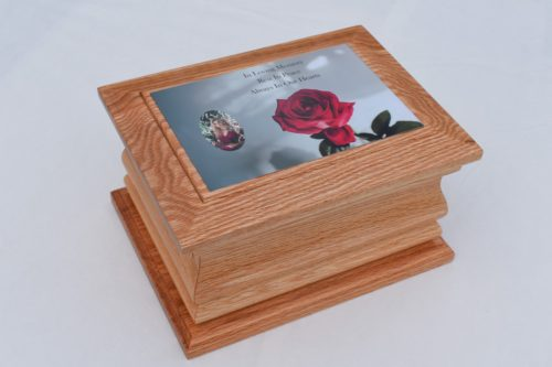 Solid Oak Moulded Ashes Casket with Rose Photo