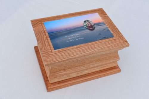Solid Oak Moulded Ashes Casket with Sand Photo