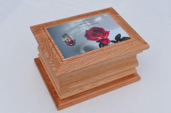 Solid Oak Moulded Casket Rose Small