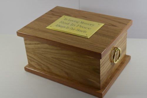Windsor oak veneer casket for ashes